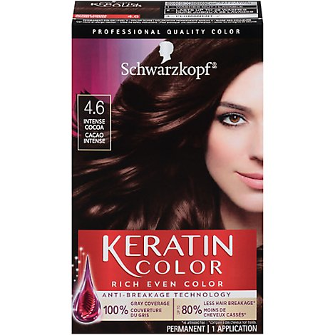 Schwarzkopf Hair Color Anti Age Keratin Color Intense Cocoa 4.6 - 1 Count