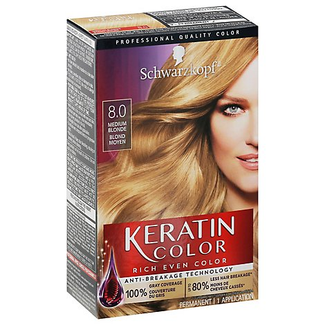 Schwarzkopf Keratin Color Haircolor Permanent Medium Blonde 8.0 - Each