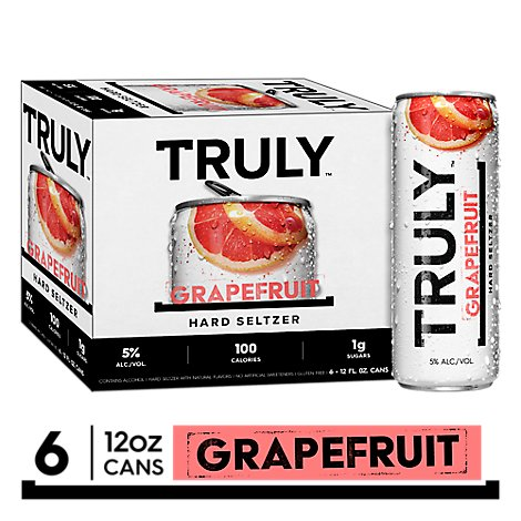 Truly Hard Seltzer Spiked & Sparkling Water Grapefruit & Pomelo 5% ABV Slim Cans - 6-12 Fl. Oz.
