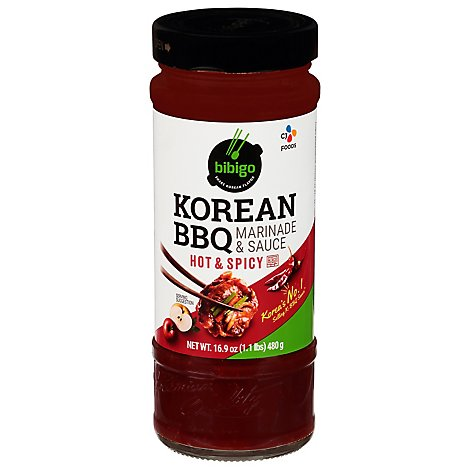 Bibigo Sauce BBQ Korean Hot & Spicy Bottle - 16.9 Oz