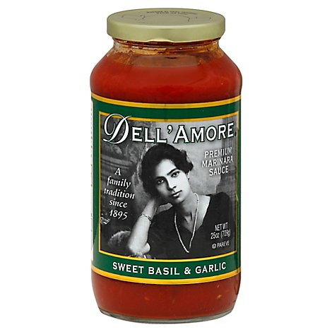 Dell Amore Marinara Sauce Sweet Basil & Garlic Jar - 25 Oz