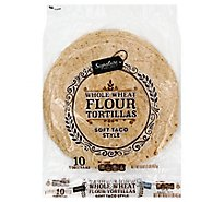 Signature SELECT Tortillas Flour Soft Taco Style Whole Wheat Bag 10 Count - 16 Oz