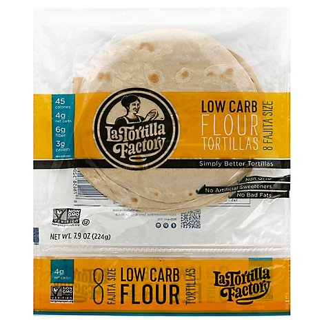La Tortilla Factory Tortillas Flour Low Carb Bag 8 Count - 7.9 Oz