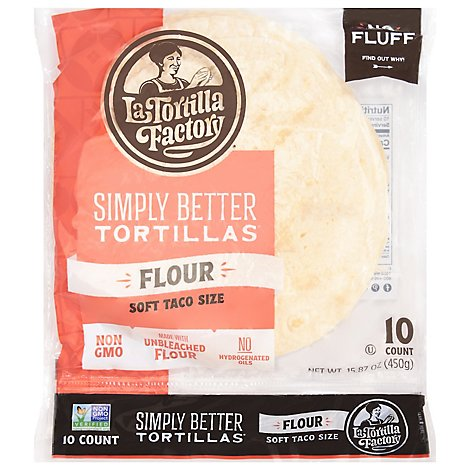 La Tortilla Factory Tortillas Flour Soft Taco Size Bag 10 Count - 15.87 Oz