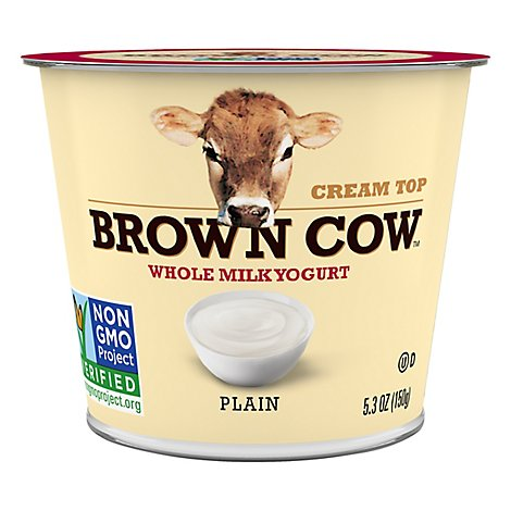 Brown Cow Cream Top Yogurt Whole Milk Plain - 5.3 Oz