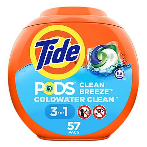Tide PODS Detergent Pacs Clean Breeze - 57 Count