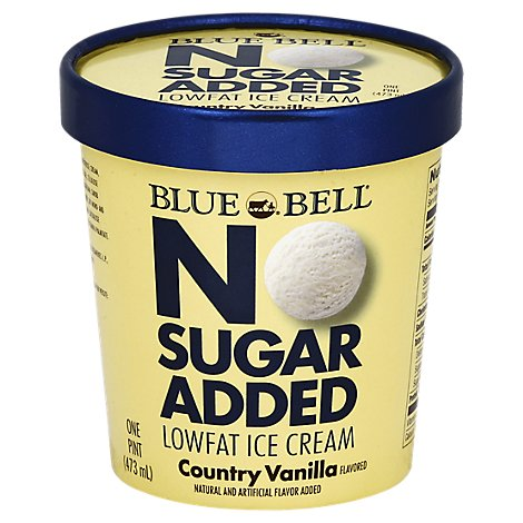 Blue Bell Ice Cream Lowfat No Sugar Added Country Vanilla Flavored Pint - Each