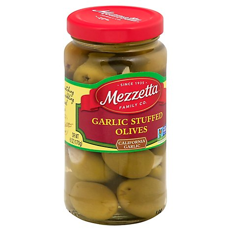 Mezzetta Olives Stuffed Garlic - 6 Oz