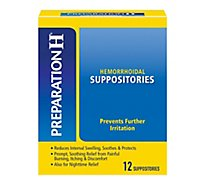 Preparation H Hemorrhoid Treatment Suppositories Burning Itching Discomfort Relief - 12 Count
