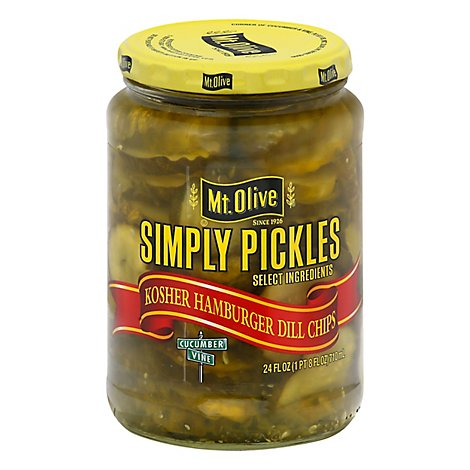 Mt. Olive Pickles Simply Pickles Chips Hamburger Dill - 24 Fl. Oz.