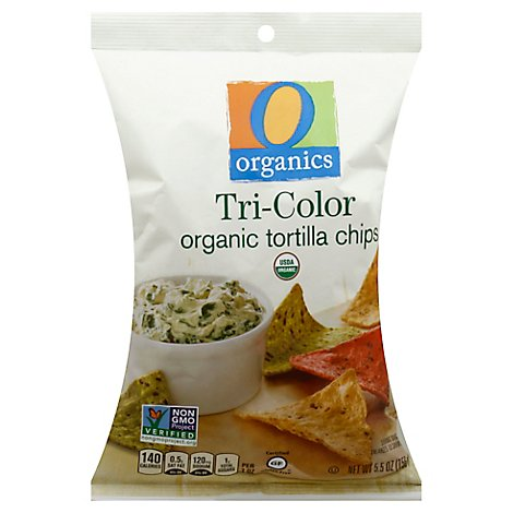 O Organics Organic Tortilla Chips Tri-Color - 5.5 Oz