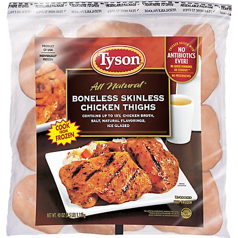 Tyson Chicken Thighs Boneless Skinless All Natural - 2.50 LB