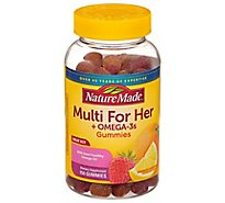 Nature Made Multi for Her Plus Omega-3s Natural Fruit Flavors Adult Gummies - 150 Count