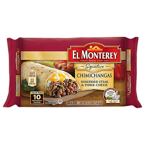 El Monterey Signature Chimichangas Shredded Steak & Three Cheese 10 Count - 3.13 Lb