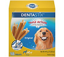 PEDIGREE DentaStix Dog Treats Triple Action Original For Large Dogs Pouch 18 Count - 15.56 Oz