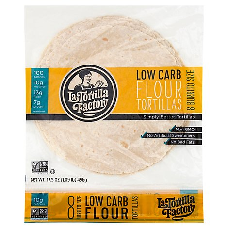 La Tortilla Factory Tortillas Flour Low Carb Burrito Size Bag 8 Count - 17.5 Oz