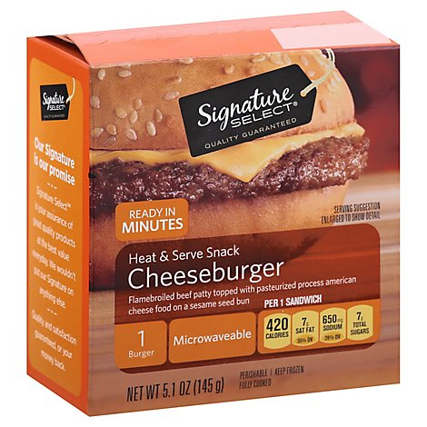 Signature SELECT Heat & Serve Snack Cheeseburger Frozen - 5.1 Oz