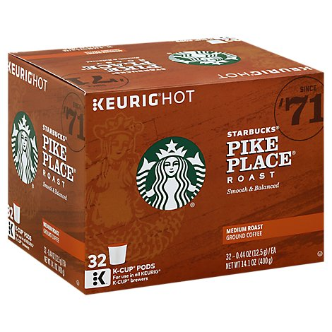 Starbucks Coffee K-Cup Pods Medium Roast Pike Place Roast - 32-0.44 Oz