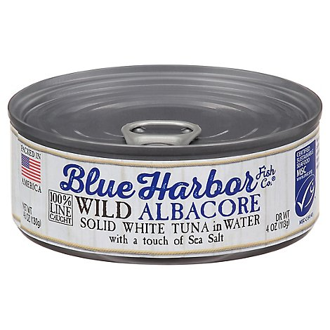Blue Harbor Fish Co. Tuna Wild Albacore Solid White in Water with a Touch of Sea Salt - 4.6 Oz