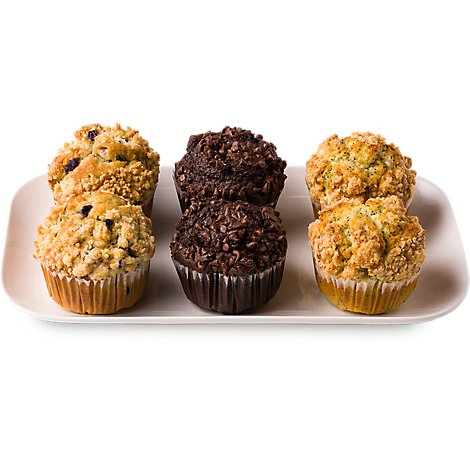 Bakery Muffins Bluebry Chocolate Bran Assorted 6 Count - Each