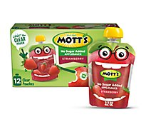 Motts Applesauce Strawberry No Sugar Added Clear Pouches - 12-3.2 Oz
