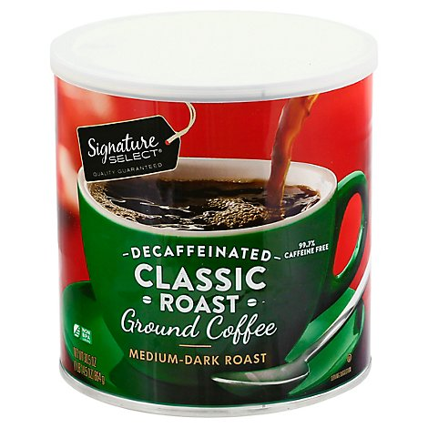 Signature SELECT Coffee Ground Medium Dark Roast Classic Roast Decaffeinated - 30.5 Oz