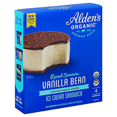 Aldens Ice Cream Round Sandwich Vanilla Bean - 4 Count