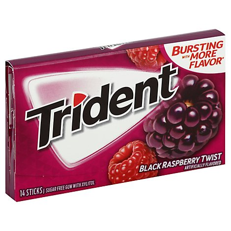 Trident Gum Sugar Free With Xylitol Black Raspberry Twist - 14 Count