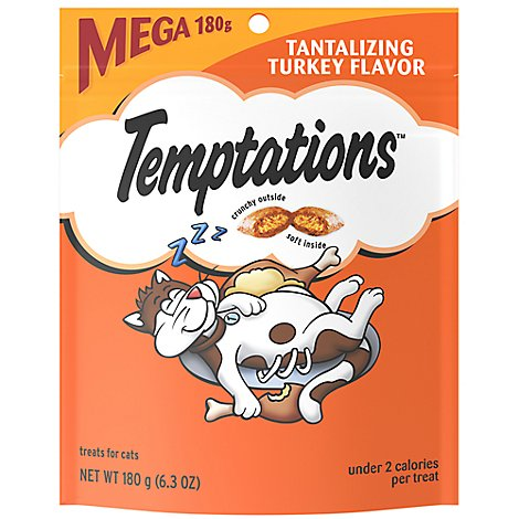 TEMPTATIONS Classic Cat Treats Crunchy And Soft Tantalizing Turkey Flavor - 6.3 Oz