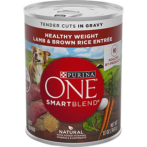 Purina ONE SMARTBLEND Dog Food Adult Tender Cuts in Gravy Lamb & Brown Rice Entree Can - 13 Oz