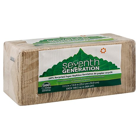 Seventh Generation Paper Napkins 1-Ply Brown Wrapper - 500 Count