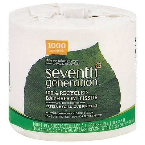 Seventh Generation Bathroom Tissue 1-Ply White Wrapper - 1 Roll