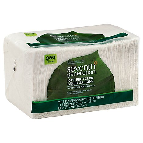Seventh Generation Paper Napkins 1-Ply White Wrapper - 250 Count