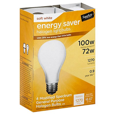 Signature SELECT/Home Light Bulb Halogen Soft White 72W 1270 Lumens - 4 Count