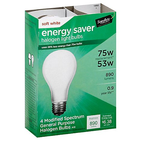 Signature SELECT/Home Light Bulb Halogen Soft White 53W 890 Lumens - 4 Count