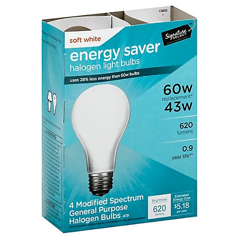 Signature SELECT Light Bulb Halogen Soft White 43W 620 Lumens - 4 Count
