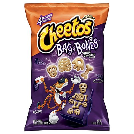 Cheetos Snacks Cheese Flavored Bag of Bones White Cheddar - 7.5 Oz