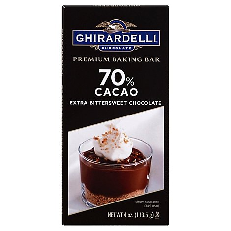 Ghirardelli Chocolate Baking Bar Premium Extra Bittersweet Chocolate 70% Cacao - 4 Oz
