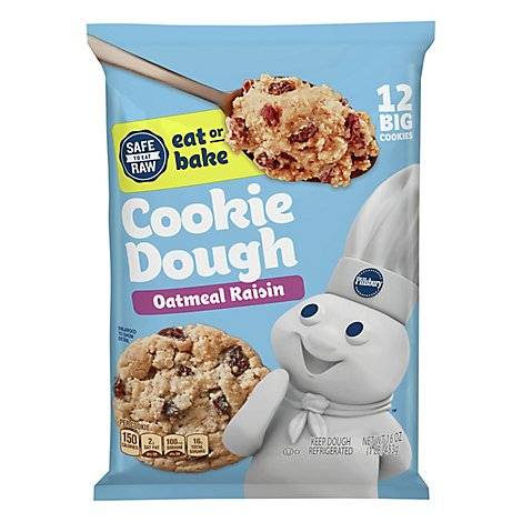 Pillsbury Ready To Bake! Cookies Big Deluxe Oatmeal Raisin With Cinnamon 12 Count - 16 Oz