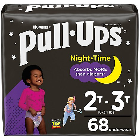 Pull-Ups Training Pants Learning Designs For Girl Toddler 2 To 3 Night Time - 68 Count