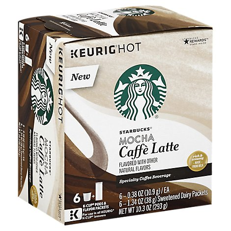 Starbucks Coffee K-Cup Pods & Flavor Packets Caffe Latte Mocha Box - 6-0.38 Oz