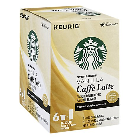 Starbucks Coffee K-Cup Pods & Flavor Packets Caffe Latte Vanilla Box - 6-0.38 Oz