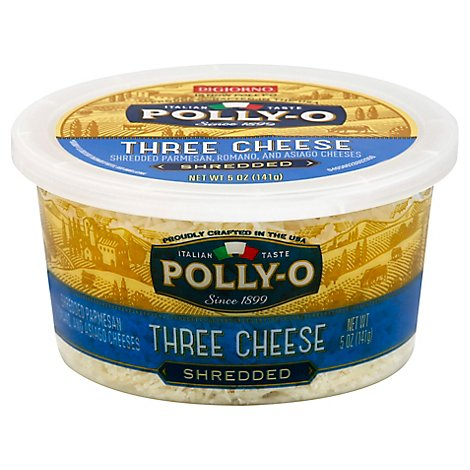 Polly O Shredded 3 Cheese Cup - 5 Oz