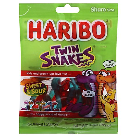 Haribo Gummi Candy Twin Snakes Sweet & Sour - 5 Oz