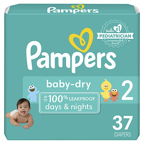 Pampers Baby Dry Diapers Size 2 (12-18 lb) Sesame Street - 37 Count