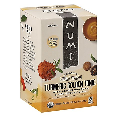 Numi Herbal Teasan Organic Tea Caffeine Free Turmeric Tea Golden Tonic - 1.31 Oz