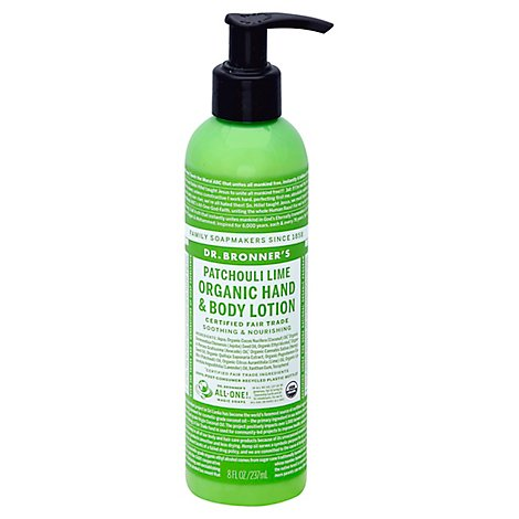 Dr Bronners Lotion Organic Hand & Body Patchouli Lime - 8 Fl. Oz.