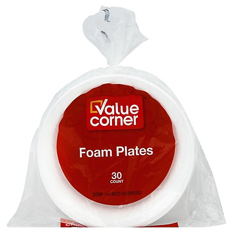 Value Corner Plates Foam 8 7/8 Inch Bag - 30 Count