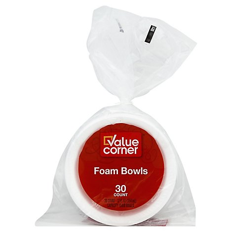 Value Corner Bowls Foam 12 Ounce Bag - 30 Count