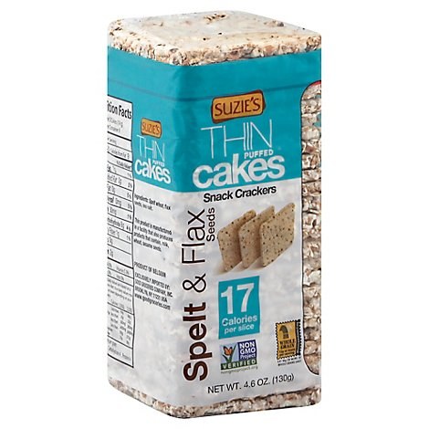 Suzies Crackers Puffed Cakes Thin Spelt & Flax Seeds - 4.6 Oz